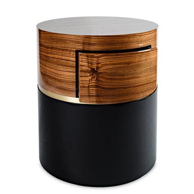 Walnut and black lacquer with touch-latch: $4600 drawer: